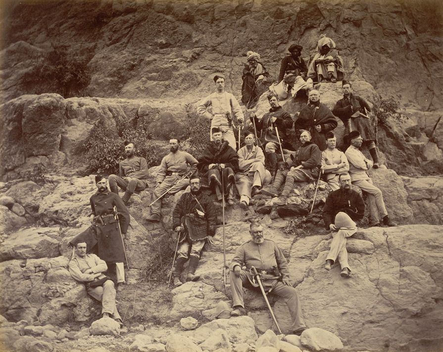 Photograph of men of the 51st King's Own Yorkshire Light Infantry near Ali Masjid in the Khyber Pass, taken by John Burke in 1878 [India / Afghanistan]
