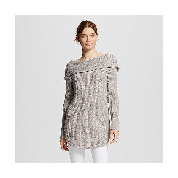 Women's Off the Shoulder Sweater Gray ($25) ❤ liked on Polyvore featuring tops, sweaters, grey, grey wrap sweater, patterned sweaters, loose sweater, drape sweater and wrap sweater