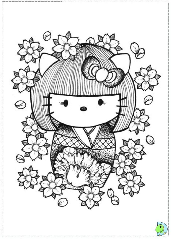 japanese hello kitty coloring pages - photo#23