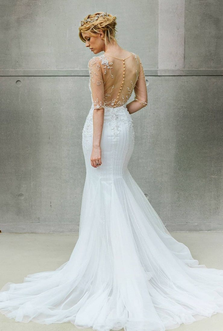 Sophisticated wedding gown with illusion neckline and sleeve | fabmood.com #weddingdress #weddinggown #bridalgown #bridaldress #weddingdresses #wedding #bride