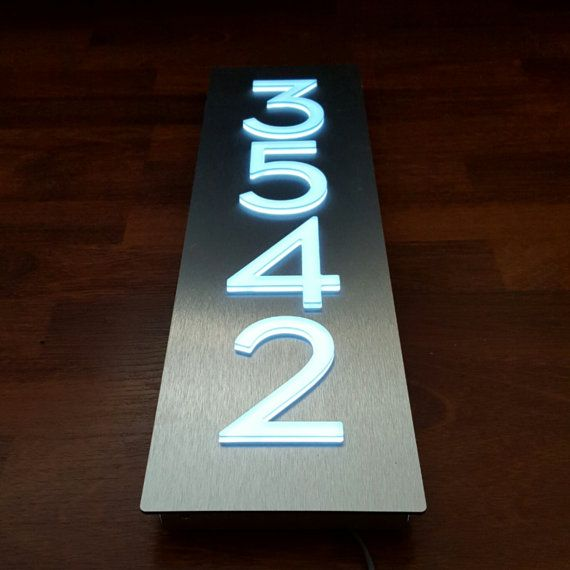 Custom Aluminum Acrylic LED House Numbers Sign Vertical 4