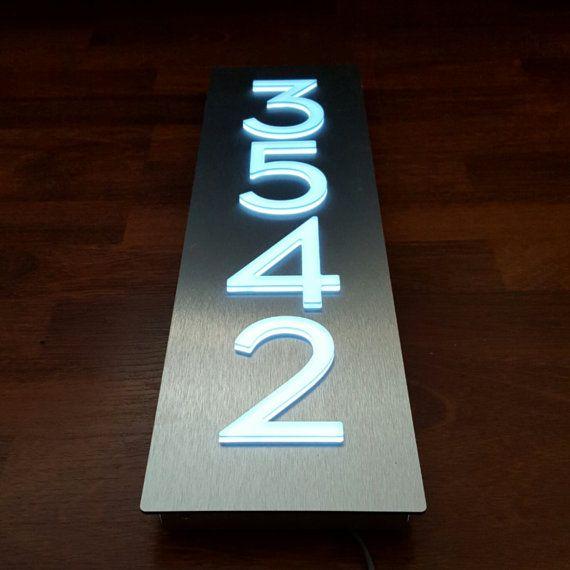 Custom Bespoke Led House Number Sign Vertical 4 Numbers Black