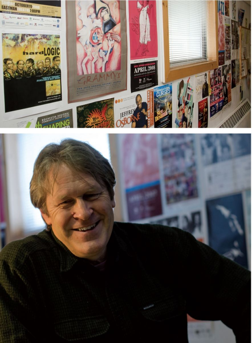 The walls of Lee Rust's WJZR are lined with posters reflecting Rochester's rich jazz scene.