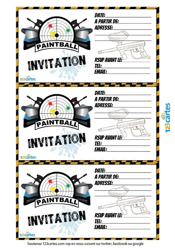 Gut bekannt Invitation paintball à imprimer | 123 cartes | Idée anniv  QN35