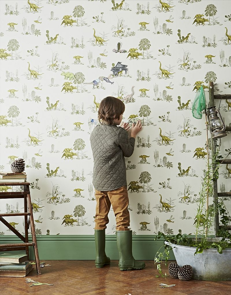 Kids Bedrooms With Dinosaur Themed Wall Art And Murals Dino