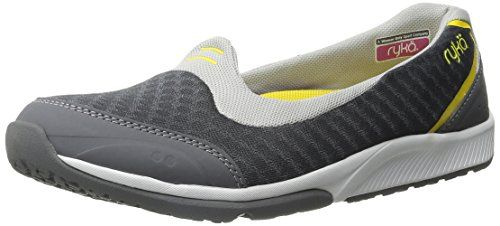 RYKA Women's Flutter Walking Casual Shoe, Steel Grey/Grey/Yellow, 9 M