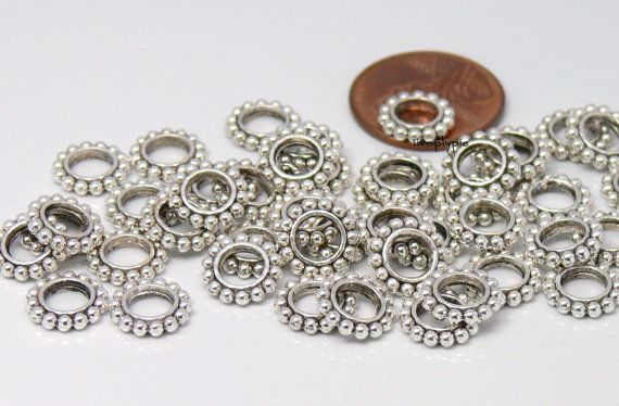 9mm Antiqued Silver Flower Rondelle with Large Hole by simplypie