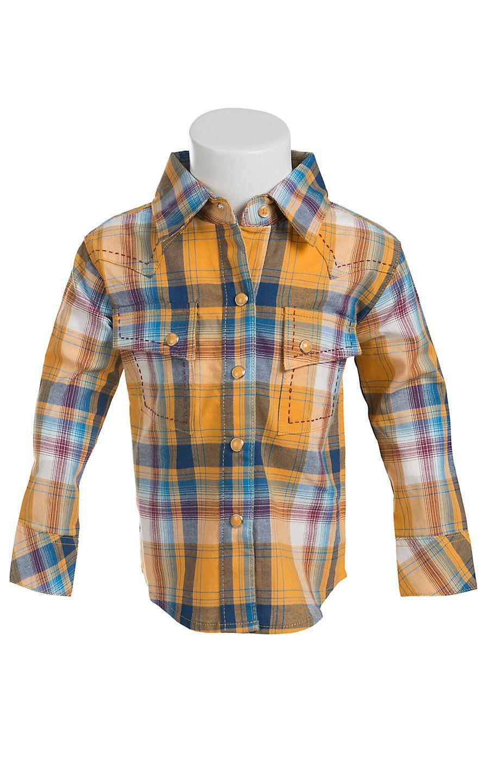 6684cac3091c Wrangler Boy s Infant Toddler Gold   Blue Plaid Long Sleeve Western ...