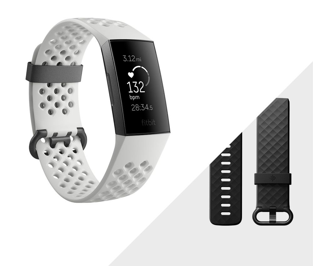 Fitbit Charge 3 Fitness Activity Tracker w// Silver Metal Mesh Band FREE SHIPPING