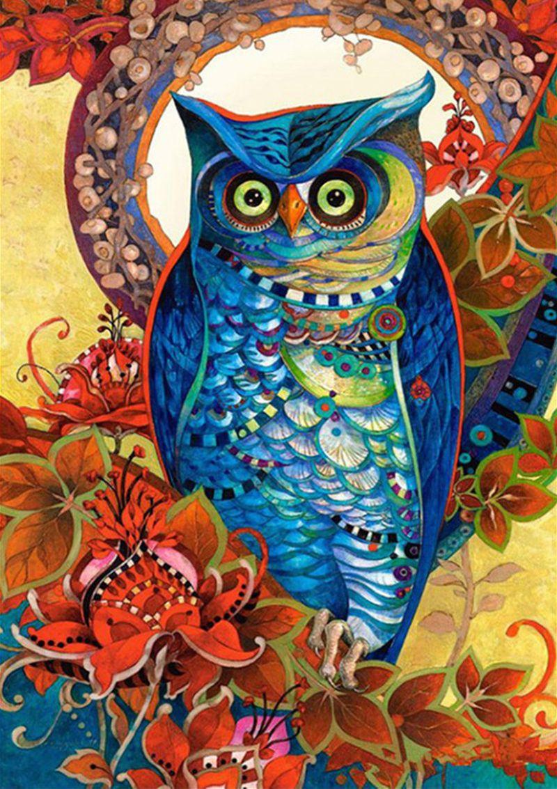 30X40cm DIY Full Drill Diamond Painting Cross Stitch owl Printed Draw  Picture Round Rhinestones Embroidery