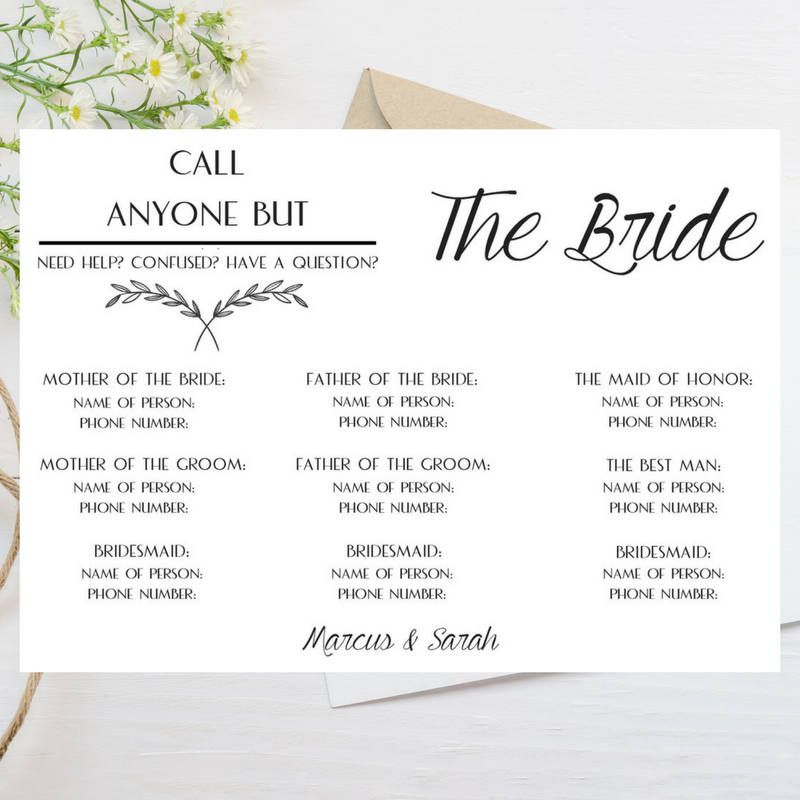 call anyone but the bride template phone number wedding contact card wedding information card wedding guest kit by coupedepapier on etsy