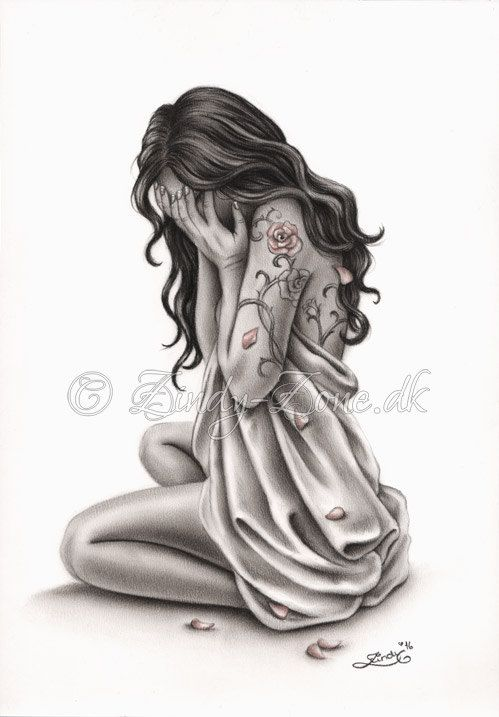 Petals of Sorrow Sad Crying Woman Rose Tattoo Art Print Emo Fantasy Girl Zindy Nielsen