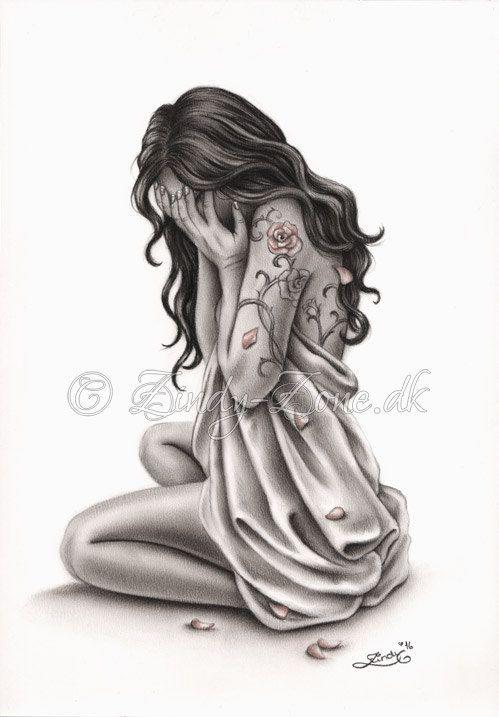 bl tenbl tter von trauer traurig weinende frau rose tattoo zeichnungen pinterest rosen. Black Bedroom Furniture Sets. Home Design Ideas