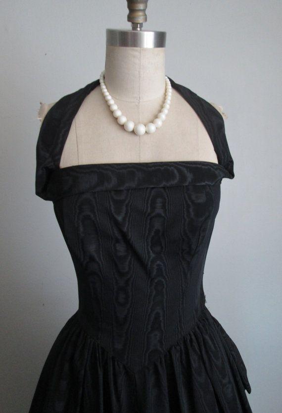 50\'s Evening Gown // Vintage 1950\'s Black Moire Taffeta Halter ...