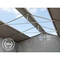 Photo of 8×8 m tent hall – 4.0 m side height with zipper gate and skylights, Pvc 550 g / m² industrial cellar