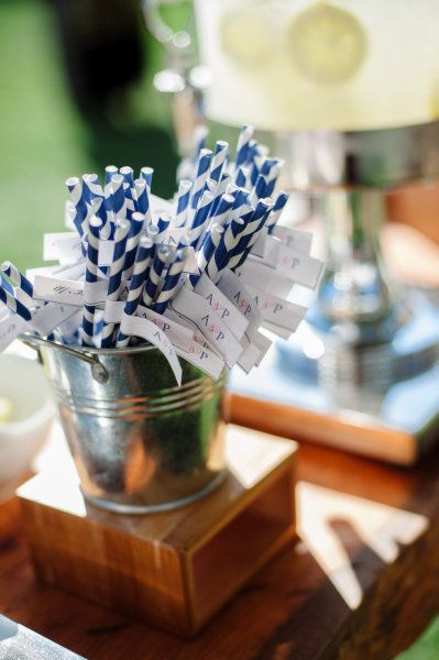 Navy & White paper straws on Style Me Pretty by Weddings & Wellies » A Custom Wedding Invitation Design Studio