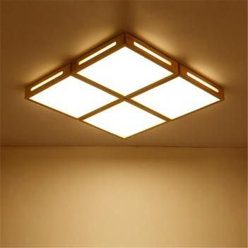 Japanese Solid Wood Simple Living Room Wooden Ceiling Light