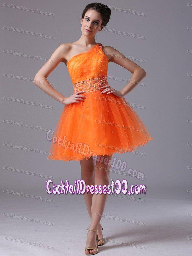 Orange Short Cocktail Dress