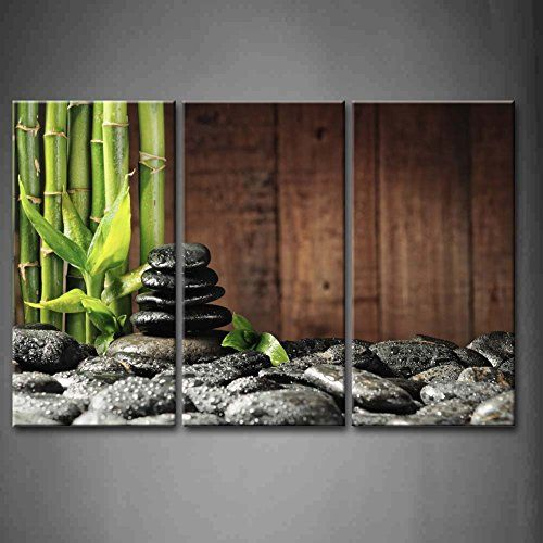 3 panel wall art green spa concept bamboo for Spa wall decor