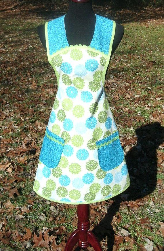 RETRO APRON bright green blue flowers on white by MorningMoonShop