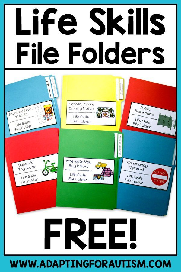 Free Life Skills File Folder Activities for Special Education - Adapting for Autism