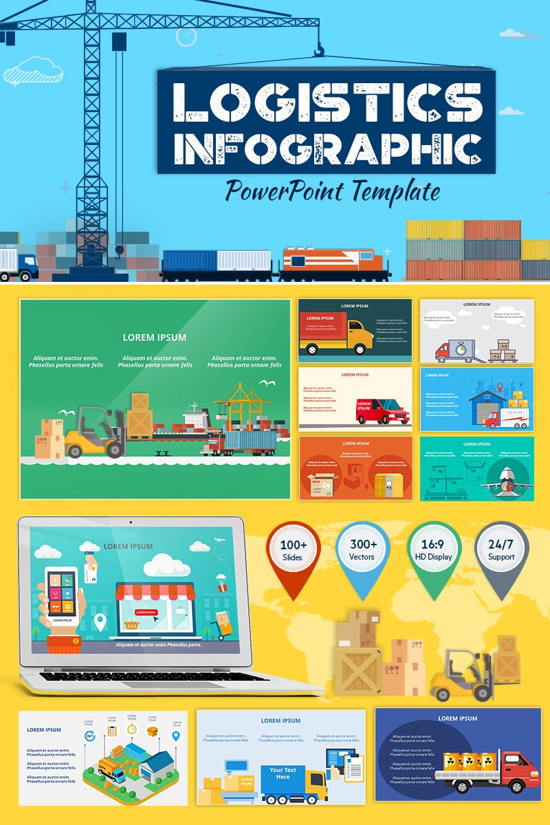 Powerpoint Infographic Template | Logistics Infographic Set Powerpoint Template My Design