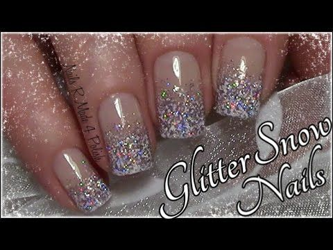Glitter Snow Nails / Easy Winter Nail Art Design for