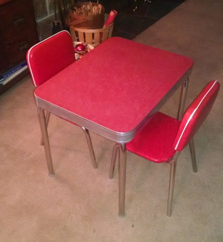 1950 S Child Size Retro Vintage Red Formica Kitchen Table And