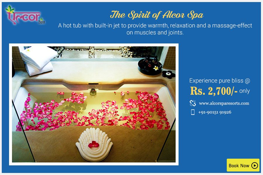 Experience pure bliss with The Spirit of Alcor Spa which involves a hot tub with jet that provides relaxation to your mind, body and soul.Book your 90 minutes session at Rs. 2,700 only.Visit: http://alcorspa.in/book-appointment/ to book today!#AlcorSpa #TheSpiritofAlcorSpa #HotTub #Jet #SoothingSession #PamperYourself #BookanAppoitment