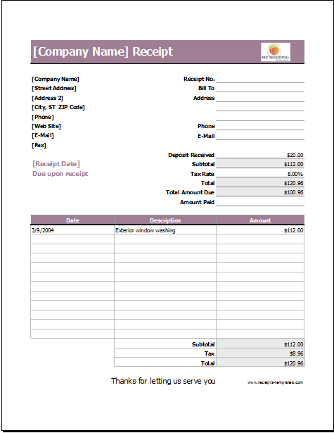 Wedding Services Receipt Template For Excel Invoice Template Event Planning Quotes Receipt Template