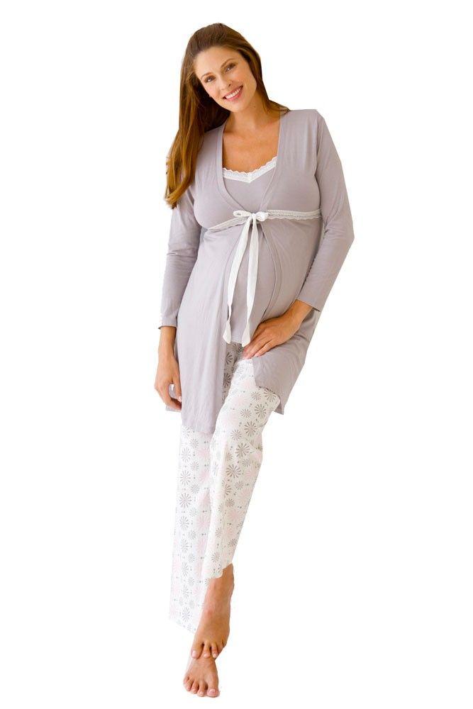 98266648c8c86 Belabumbum Starlit 3-pc. Maternity & Nursing Cami PJ & Robe Set ...