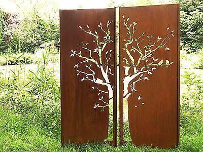 Details Zu Gartenwand Sichtschutz Wand Diptychon Baum Stahl Rost