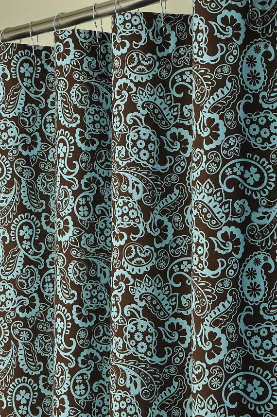Brown Blue Paisley Shower Curtain 72 X 78 LONG By PondLilly 13999