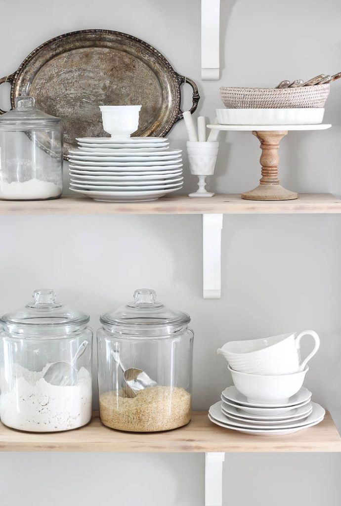 kitchen shelves makeover farmhouse kitchen shelves with white dishes natural wood accents on farmhouse kitchen shelf decor id=25607
