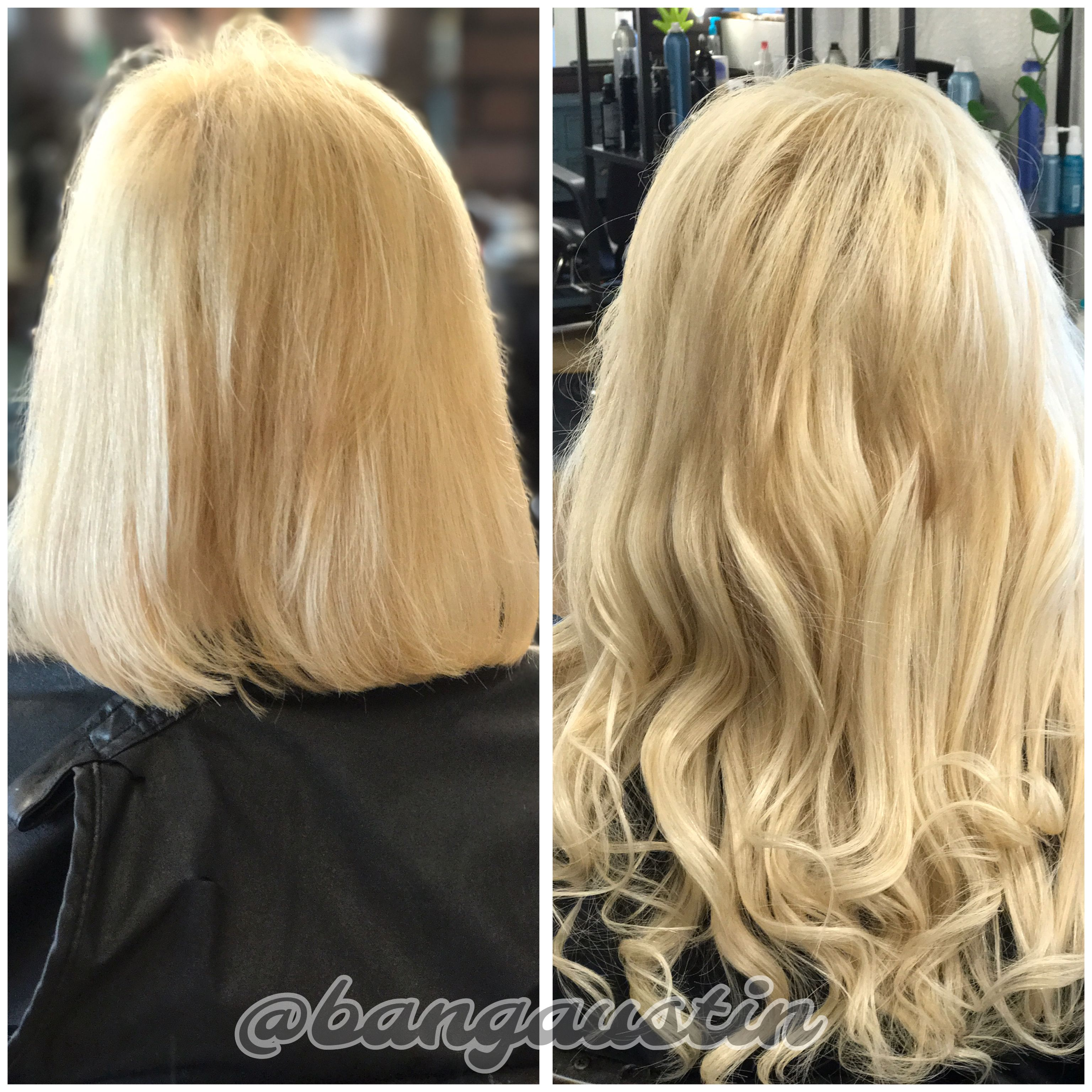 Full Head Of Halo Couture Tape In Hair Extensions Bang Salon Day