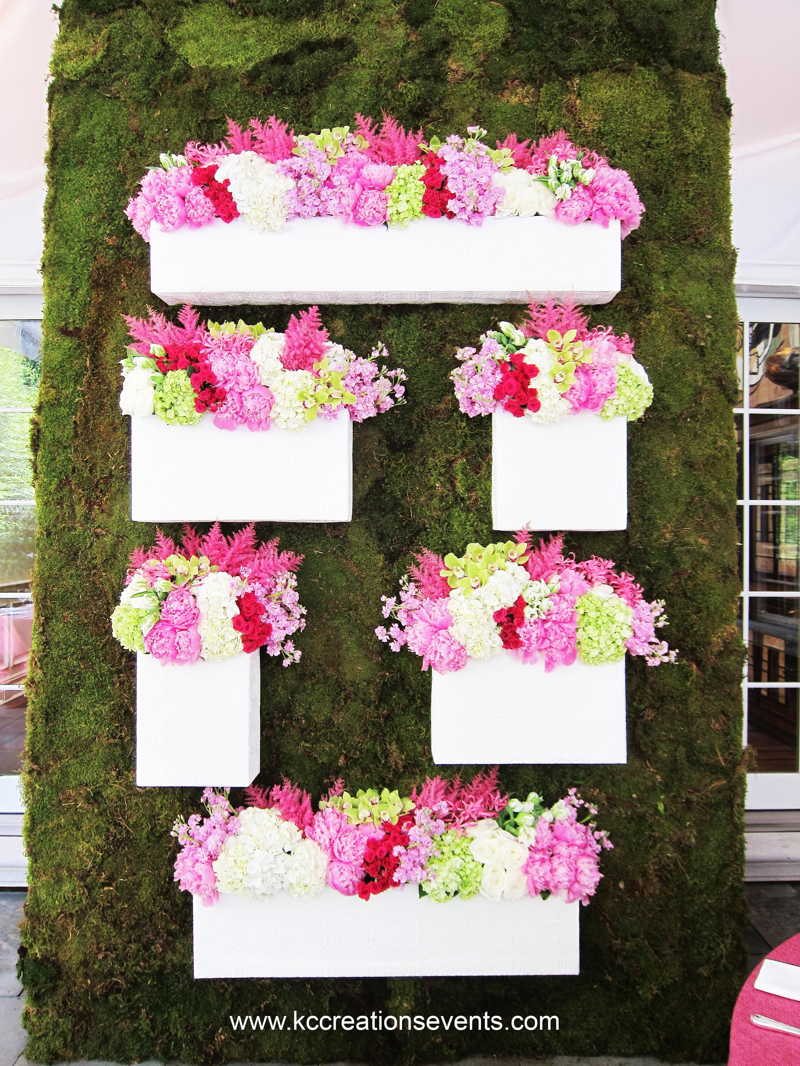Pink Flowers Wall Of Flowersceremony Backdrop Tent Party Moss