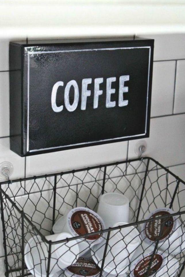 Hanging K-Cup Holder #coffeebar #coffeestation #coffee #organization #diy