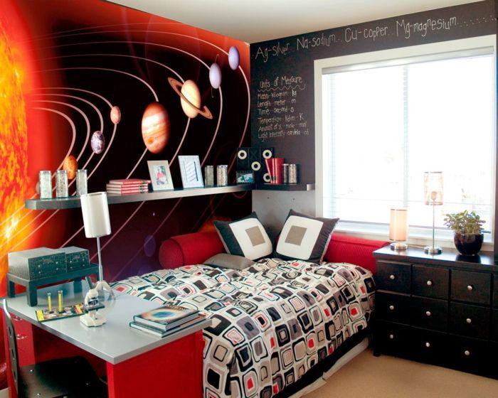 tapete kinderzimmer akzente setzen farbige bettwäsche wandregal - jugendzimmer tapeten home design ideas