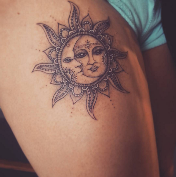sun and moon tattoo . love it