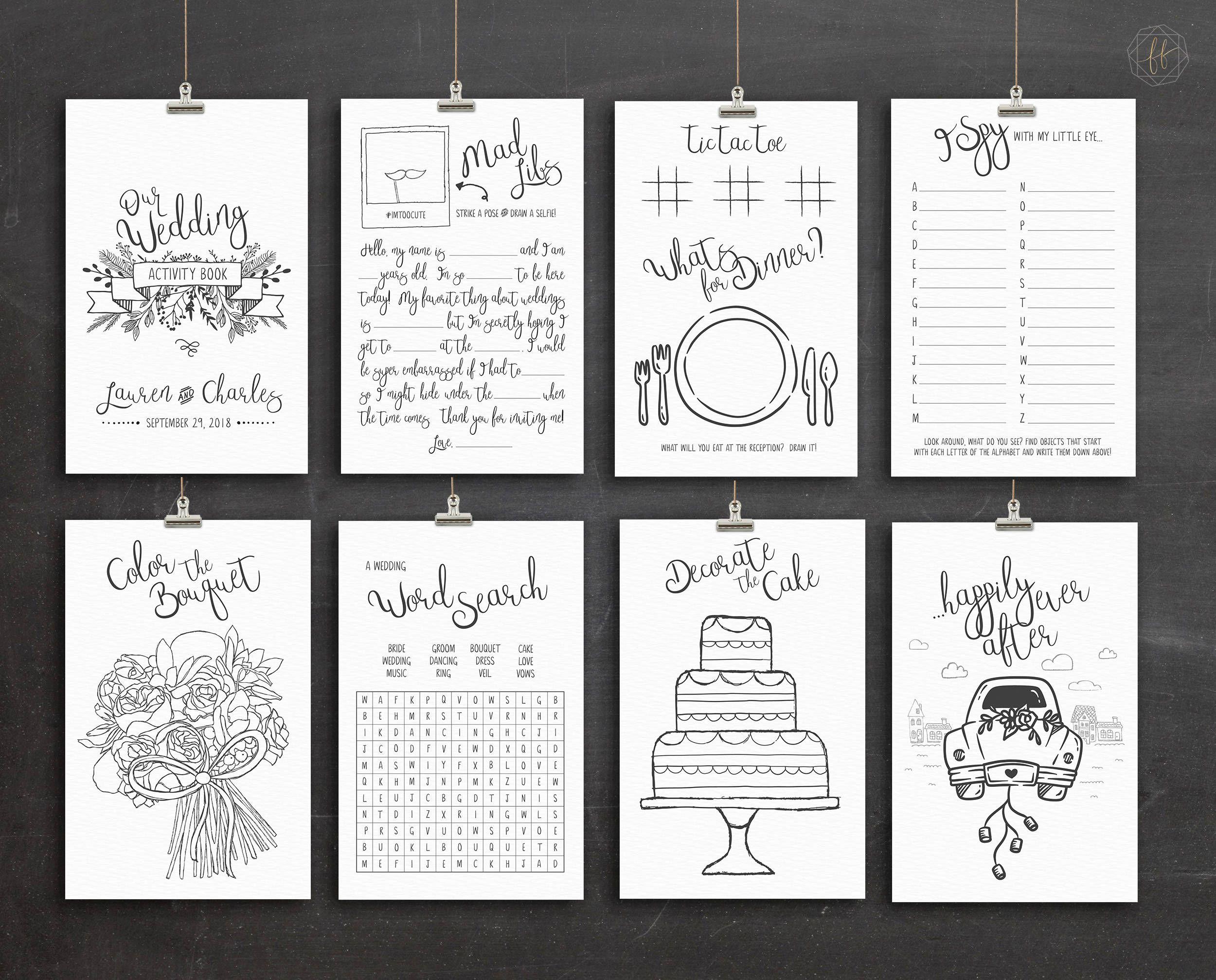 Wedding Coloring Book Wedding Activity Book Kids Wedding Etsy Wedding With Kids Wedding Activities Kids Activity Books