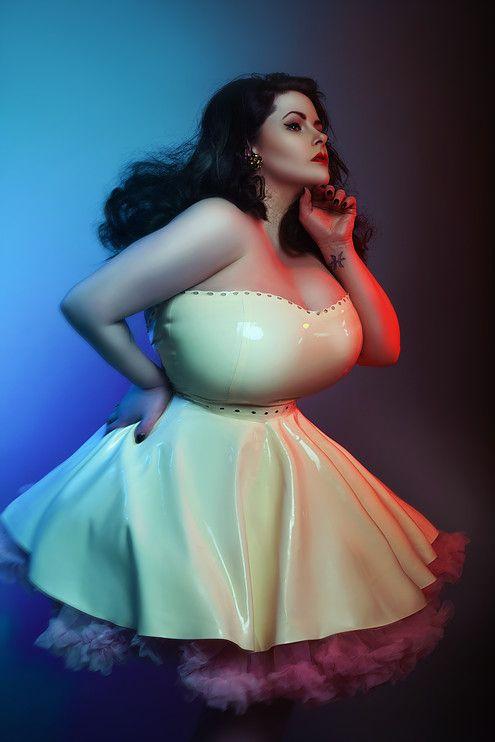 Louise Varns In White Latex Dress Vs Anchor Studio Plus Size