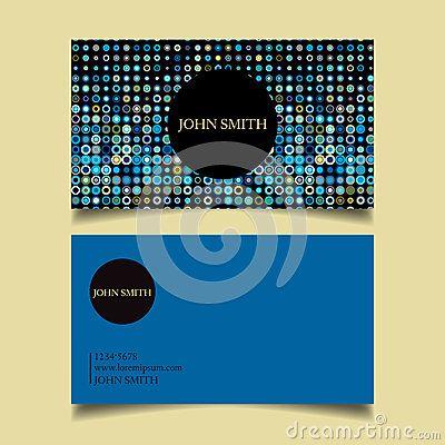 template business card neat dots blue background design draft