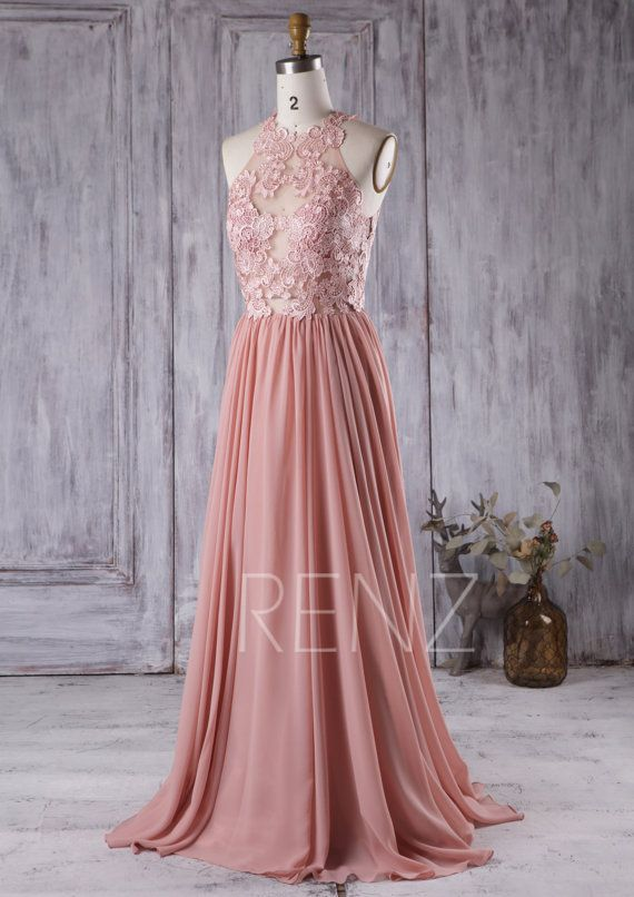 2016 dusty rose bridesmaid dress lace transparent by for Rose pink wedding dress