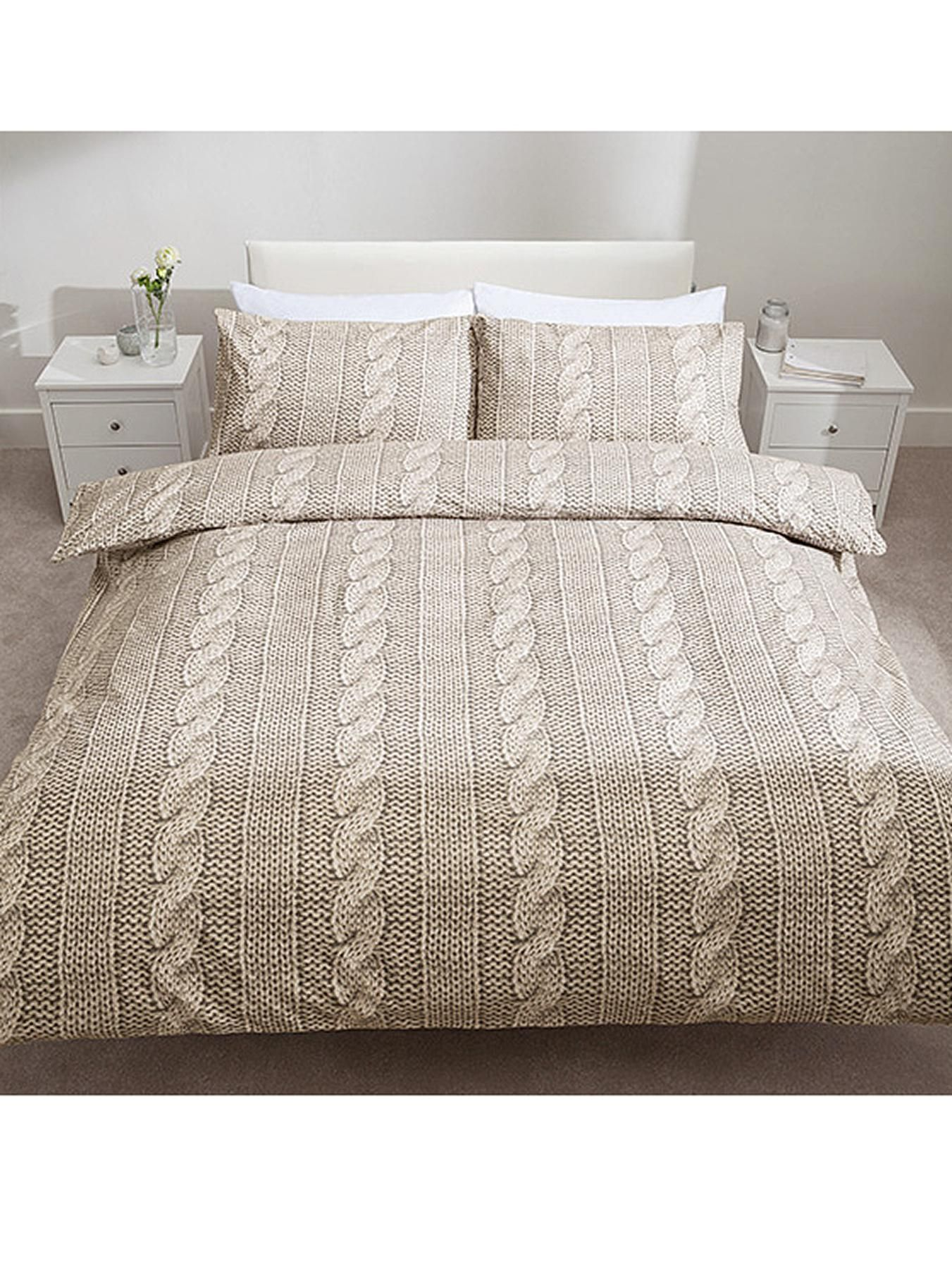 Catherine Lansfield So Soft Cable Knit Duvet Cover And Pillowcase Set Very Co