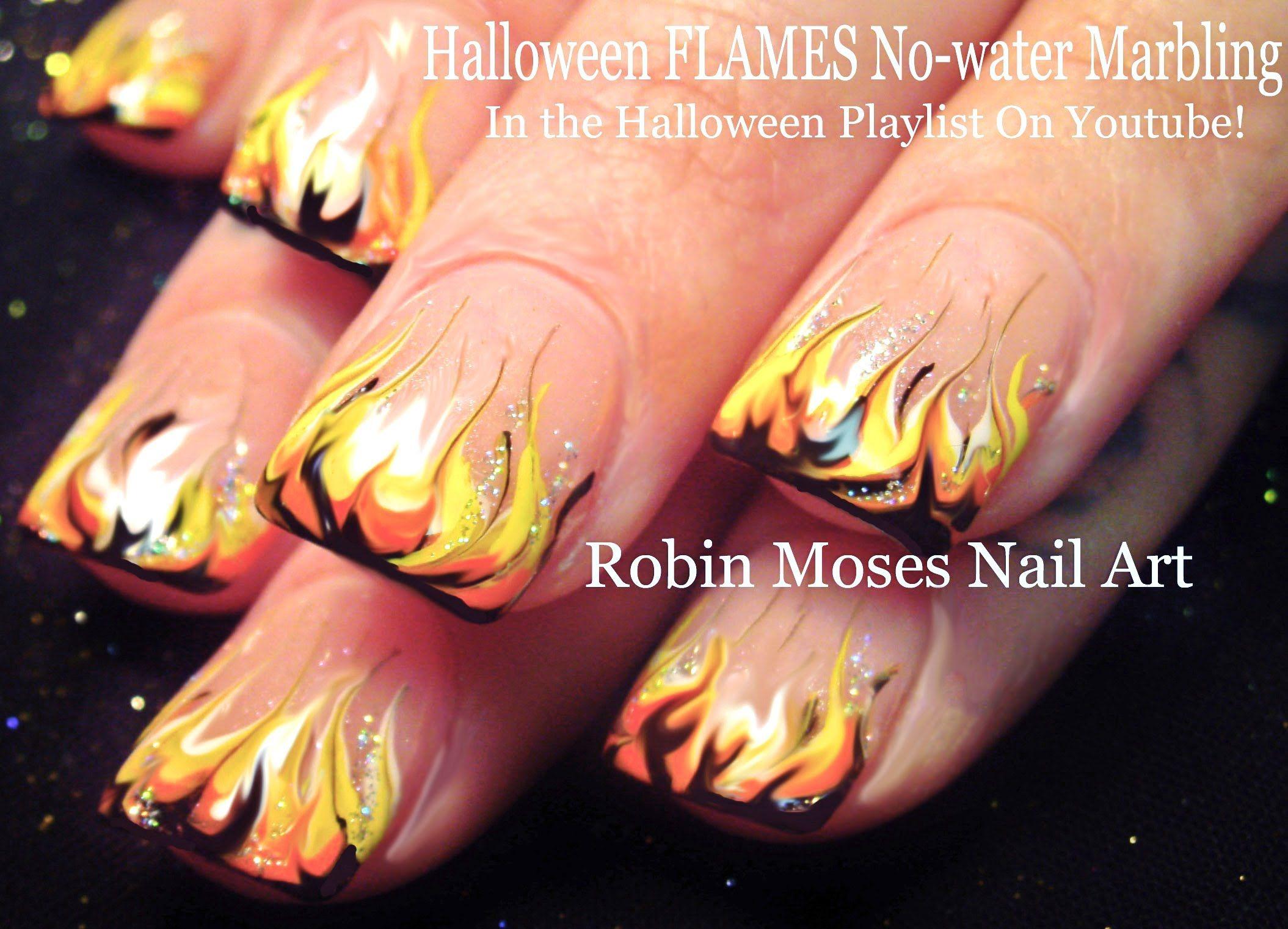 Nail Art | Hot Halloween No Water Marble! FLAMES Nail Design ...