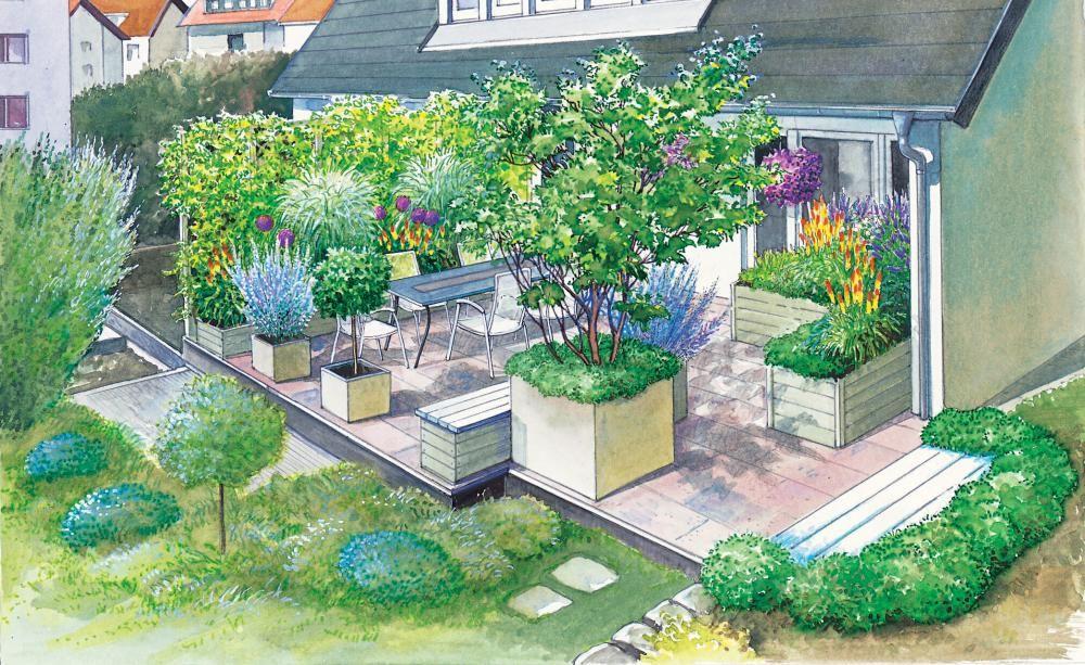 Neugestaltung Einer Geräumigen Terrasse ガーデニング Garten