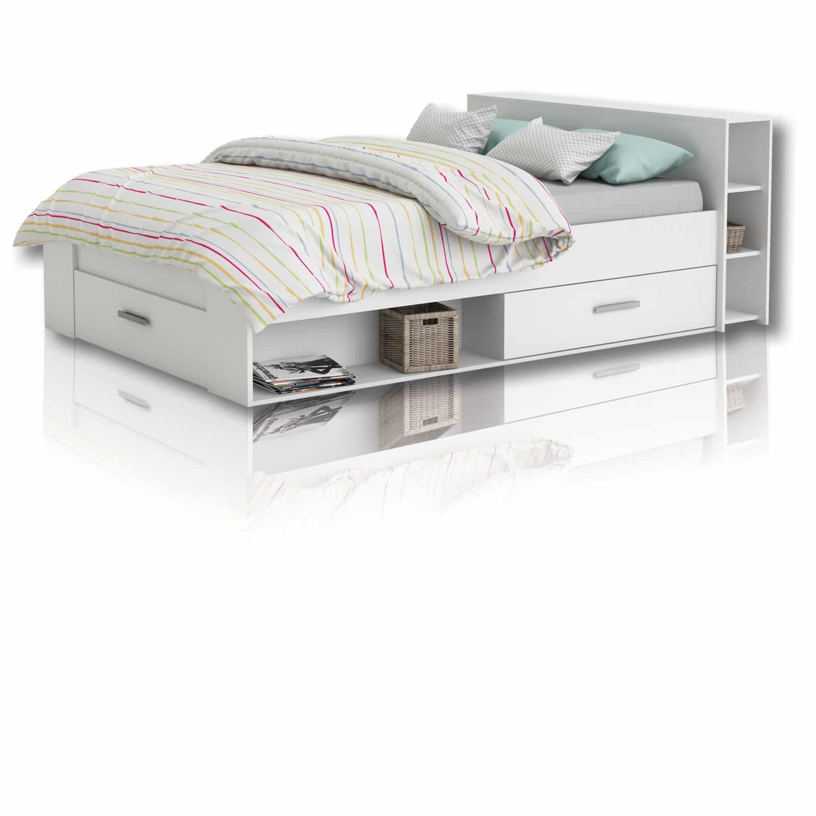 Jugendbett Funktionsbett Pocket Weiss 140x200 Cm Bett 120x200