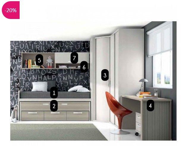 Chambre à coucher complète enfant design luca atylia prix soldes