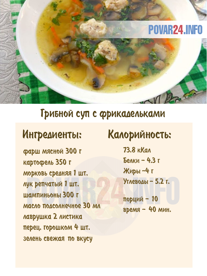 Грибной суп с фрикадельками - пошаговый рецепт с фото ...