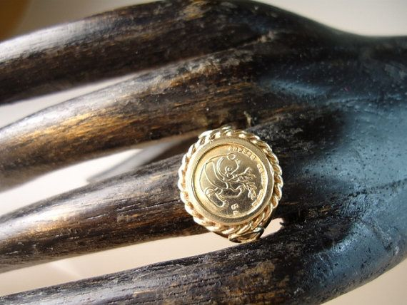 Vintage Copy 999 Pure Gold Panda Coin 10k By Granvillegallery 110 00 Silver Ring Designs Silver Necklaces Women Discount Jewelry